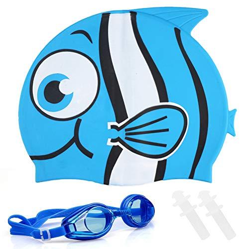 FANDE Cuffia da Nuoto Bambini Cuffia Piscina Silicone,Tappi per Orecchie in Silicone, Occhialini da Nuoto, Cuffia Piscina squalo in Silicone (Blu)