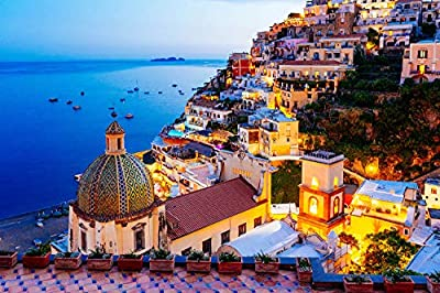 Jigsaw Puzzle 1000 Piece - Dreamy Positano - Signature Collection Twilight Sea Sight Large Puzzle Game Artwork for Adults Teens… by CHAFIN