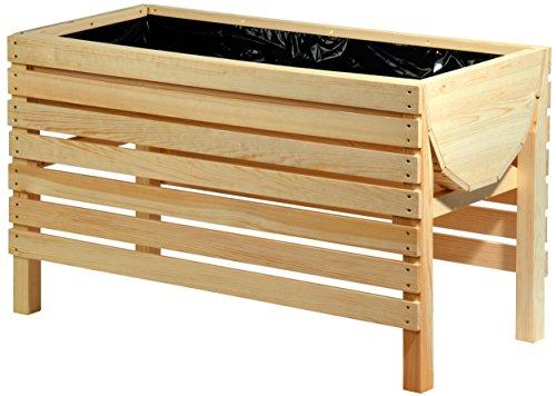 dobar 58196e Dekoratives Hochbeet aus Holz (Kiefer),100 x 45 x 60 cm,Beige