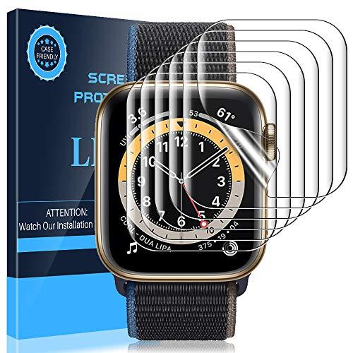 LK 6 Stück Schutzfolie Kompatibel mit Apple Watch Series 6/SE/Series 5/Series 4 40mm & Series 3 /Series 2 /Series 1 38mm Folie, Modellnummer:LK-X-108 Kompatibel Hülle Weich TPU Bildschirmschutz