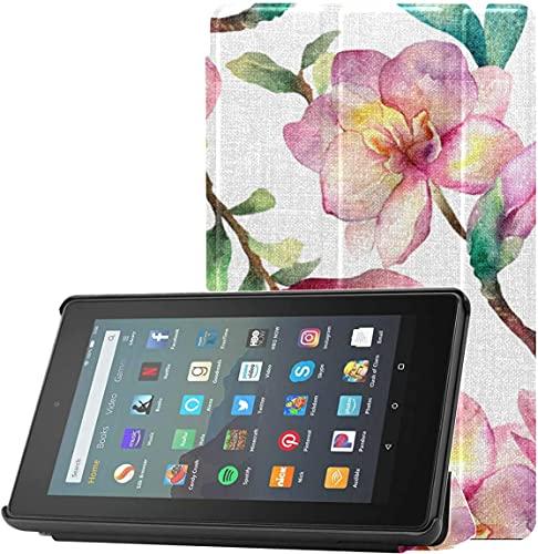Funda Kindle Fire HD 7 Funda White Magnolia In Spring Girls Funda para Tableta Fire 7 (9.a generación, versión 2019) Ligera con Reposo automático/activación