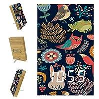 寝室用デジタル目覚まし時計キッチンオフィス3アラーム設定ラジオ木製卓上時計-野生生物動物林植物漫画