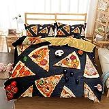 Trasign Junk Food Black Comforter and Pillow Shams Pizza Pattern 3D Bedding Set 3 Piece Bedroom Set Bedspread Winter Warm Reversible Pizza Words Printed Bed Sets Queen Size