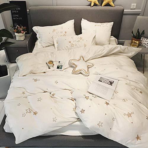 Eenvoudige geborduurde lakens, vierdelige satijnen set van 60 stuks, witte katoenen dekbedovertrek, beddengoed-Vijfdelige set_1,5 m