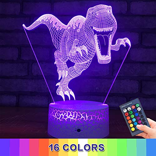 Menzee Dinosaur Toys 3D Night Light for Kids,3D Illusion Lamp with Remote Control&Smart Touch 7 Colors 16 Colors Changing T Rex Toys 10 9 3 5 2 8 1 7 6 4 Year Old Boy Gifts (TRex2)