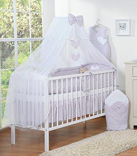 Ciel de lit en moustiquaire grand format Coeur liberty rose et vert - Fabrication européenne