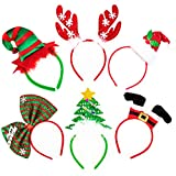 Whaline Christmas Headbands, Reindeer Antler Xmas Tree Head Hat Toppers Costume Headbands for Christmas Holiday Parties, Annual Holiday, Photos Booth (6 Pack )