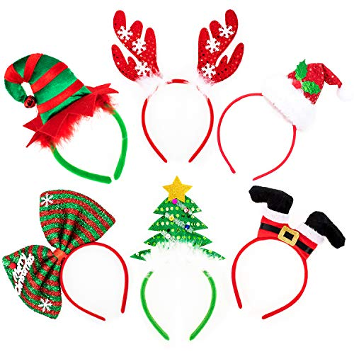 Whaline Christmas Headbands, 6 Pack Reindeer Antler Xmas Tree Head Hat Toppers for Christmas Holiday Parties, Annual Holiday, Photos Booth
