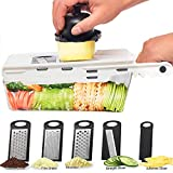 LHS Mandoline Slicing Tool, Mandoline Slicer vegetable with Container, 5 in 1 Handheld Veggie Slicer Dicer Cutter Shredder Grater and Julienne - Kitchen Manual Food Slicer for Fruits and Vegetables