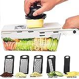 Mandoline Slicer, Mandoline Slicing Tool, Vegetable Slicer with Container, 5 in 1 Handheld Veggie Slicer Dicer Cutter Grater and Julienne - Kitchen Manual Food Slicer for Fruits and Vegetables