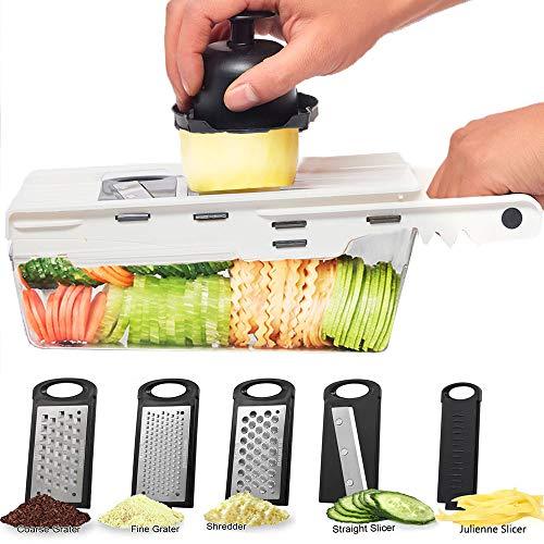 Nurch Gemüsehobel Mandolinenschneider, 5 in 1 Multifunktion Gurkenhobel, Verstellbarer Kartoffelreibe Küchenreibe Gemüsereibe, Allzweckreibe für Zwieb