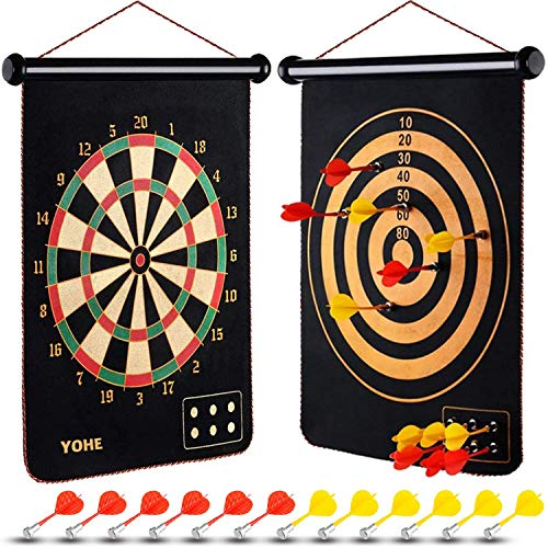 YOHE Kids Magnetic Dart Board Games, Contains 12 Darts,Gifts Toys for 2-12 Year Old Boys Girls,Indoor and Outdoor Toys,Educational Toys Age 2 3 4 5 6 7 8 9, Birthday Festival for Toddlers Age 2+