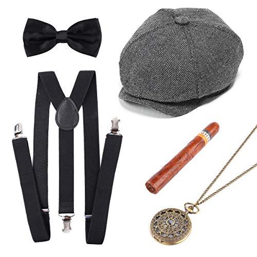 Xiangmall Años 20 Hombre Accesorios Mafioso Disfraz Incluye Gangster Hat Pajarita Tirantes Hombre Elasticos Reloj de Bolsillo Vintage Cigarro Plastico (5 PCS)