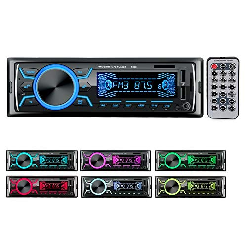 Autoradio Bluetooth Stereo auto Radio, Single DIN MP3 Car Stereo Receiver with Bluetooth4.2 Display LCD Luce 7 Colori FM/AM/AUX/MP3/WMA/WAV/USB/SD/Telecoman With Remote Control 2Carica rapida
