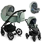 3 en 1 Isofix 2 en 1 Buggy Ideal 2020 de Lux4Kids Mint Kiss ID 03 Silla de auto...