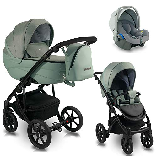 3 en 1 Isofix 2 en 1 Buggy Ideal 2020 de Lux4Kids Mint Kiss ID 03 Silla de auto 4 en 1 + ISOFIX