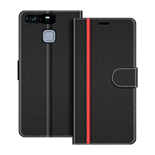 COODIO Handyhülle für Huawei P9 Handy Hülle, Huawei P9 Hülle Leder Handytasche für Huawei P9 Klapphülle Tasche, Schwarz/Rot