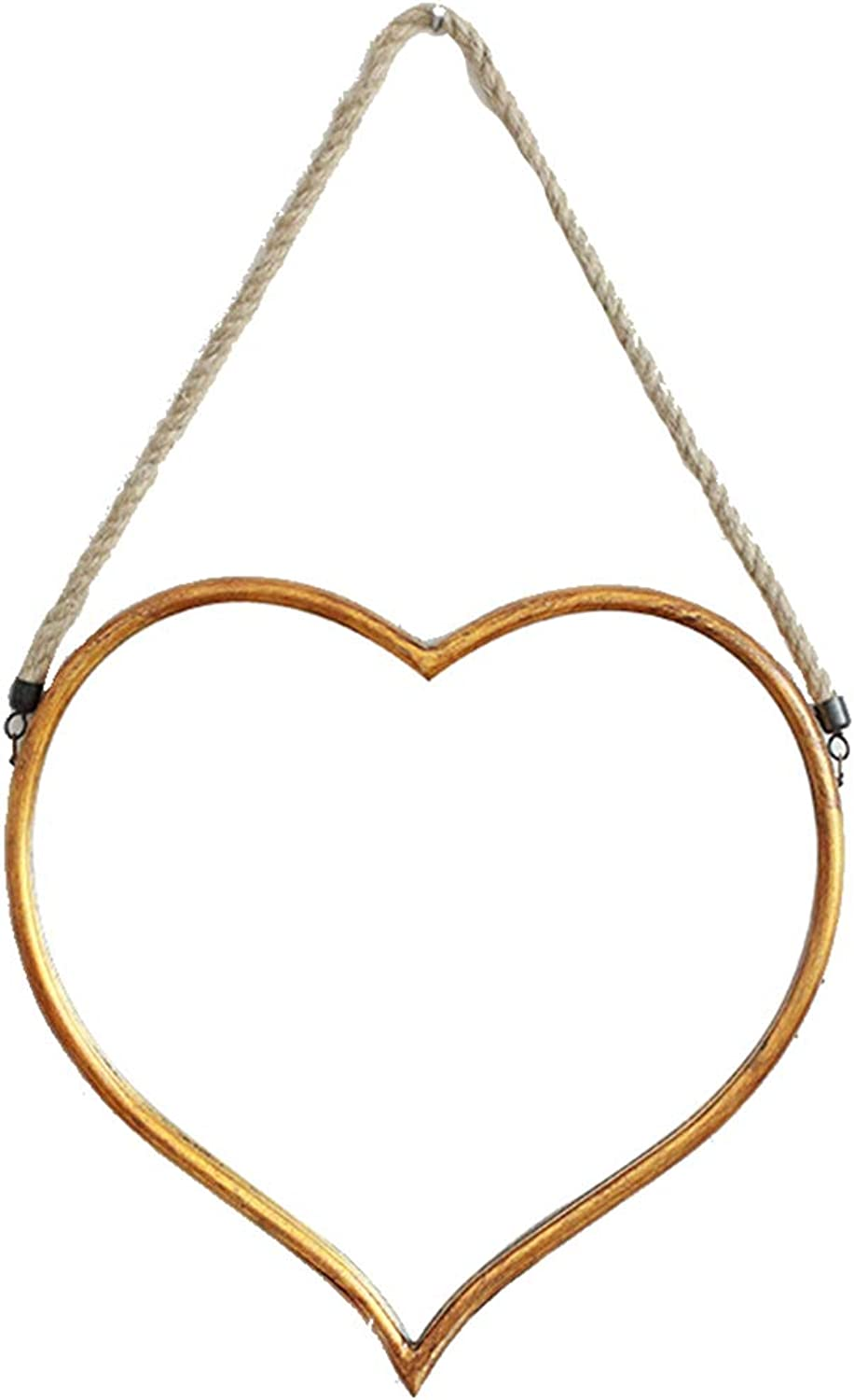 YANZHEN Mirror Wall-Mounted Hemp Rope Home Fashion Bar Bathroom American Heart Shape Iron, 2 Size (color   gold, Size   43x2.5x39cm)