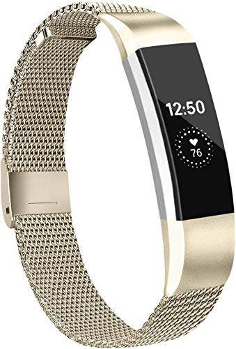 Meliya Metal Loop Bands Compatible with Fitbit Alta/Fitbit Alta HR, Stainless Steel Mesh Megnet Lock Replacement Wristbands for Women Men (Large, 01 Vintage Gold)