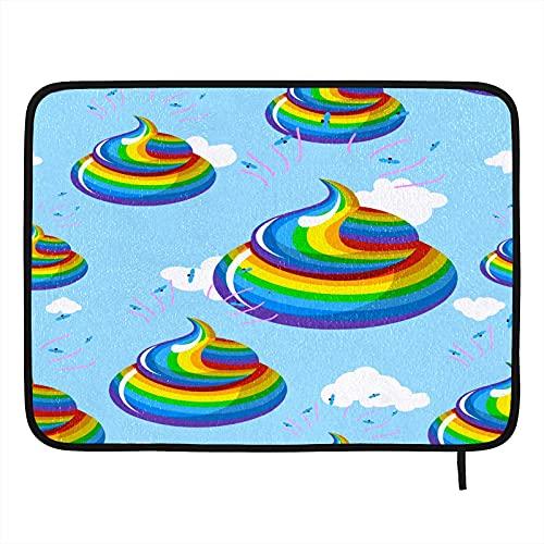 Divertido tapete de secado para platos de caca de colores arcoíris para encimera de cocina, 40,6 x 45,7 cm, con lazo para colgar, tapete absorbente para escurridor de platos
