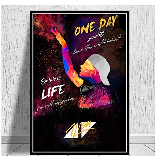 NRRTBWDHL Avicii Musik Sänger DJ Star Poster Wandkunst Bild Poster und Drucke Leinwand Gemälde für Zimmer Wohnkultur Druck auf leinwand-50x70 cm Kein Rahmen