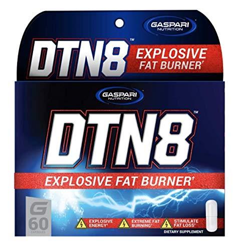 Gaspari Nutrition DTN 8 – 1 pack x 60 capsules - Quemagrasas - Cafeína, Ashwagandha, Vitamina B6 - Fuente de energía extra - Con capsaicina y piperina - Soporte termogénico