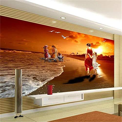Liwenjun Tapeten-3D-Meerblick-Sonnenuntergang-Landschaft Fernsehrückwand-Wohnzimmer, 300 * 210Cm