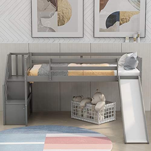 Twin Loft Beds with Slide for Kids, Low Profile Loft Beds with Staircase, No Box Spring Needed
