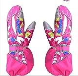 ZRDY Kinder-Winter-warme Kinder-Ski Snowboard-Handschuhe Windundurchlässig Wasserdichtes Junge Mädchen Fäustlinge Motorrad Im Freien for Das Reiten Verwenden (Color : Pink, Gloves Size : M)