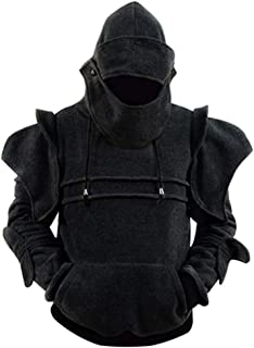 JYK-LQM Mens Solid Color Retro Elbow Drawstring Mask Knight Sweater