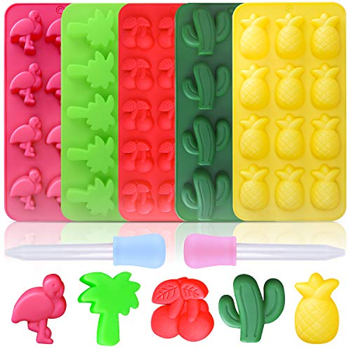 Read About Ancefine 5 Pack Silicone Molds Candy Chocolate Gummy Mold Including Cactus, Flamingo, Coc...