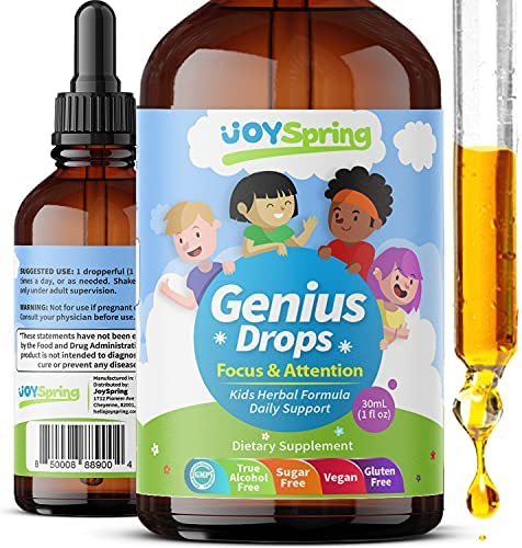 Best Natural Focus Supplement for Kids, Supports Healthy Brain Function to Improve Concentration & Attention for School, Great Tasting Liquid Calming Supplement, Made from 100% Herbs