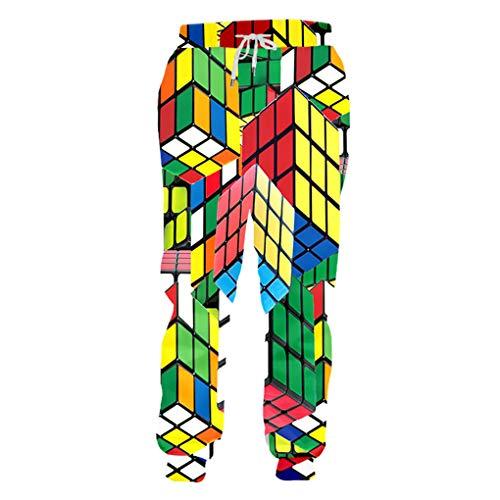 Bsrale Pantalones Flojos Confort Hombres Manera 3D del Cubo del Color De ImpresióN En 3D De Los Hombres Rubik 4XL