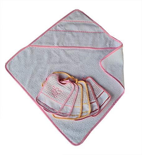 Accappatoio neonato rosa cm 60x60 piu' sei bavaglie con laccetto neonato bambina apine cm 15x18 apine con tela aida