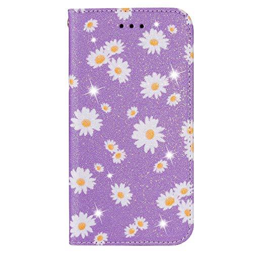 BAILI Lederhülle für Samsung Galaxy S20 Lite Hülle,Tasche Cover Etui Handyhülle für Samsung Galaxy S20 Lite,Flip Hülle für Daisy Flowers Handyhülle,Lila