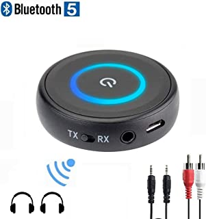 Golvery Low Latency Bluetooth V5.0 Transmitter Receiver, Portable Wireless Audio Adapter for TV Home Speakers Car Stereo Phone Headphones, No delay, 3.5mm AUX & RCA, Pair 2 at Once