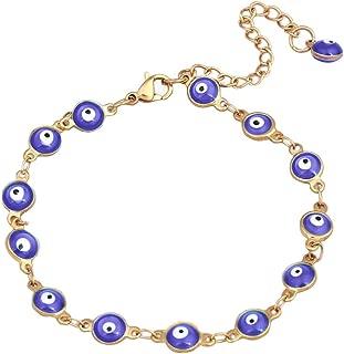 Ameesi Charms Lucky Bracelet Ethnic Turkey Bangle Cuff Evil Eye Enamel Chain Amulet Jewelry Women Lady