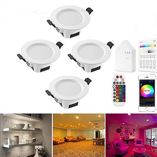 Foco LED empotrable Bluetooth Smart de 9 W, RGBW + CCT, 5 en 1, 230 V, regulable, empotrable, acero, para el techo del salón, 4 unidades con mando a distancia e interruptor táctil, 9W 220.00volts