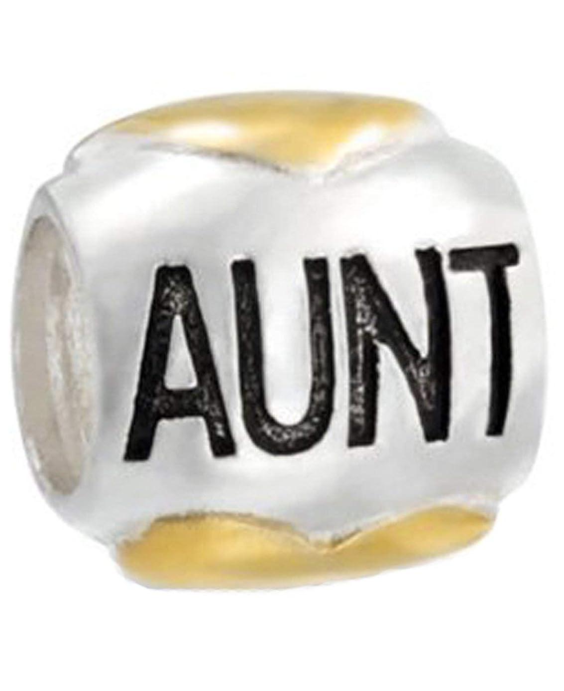 Family Aunt Heart Charm Bead - .925 Sterling Silver - Fits Pandora Charm Bracelet