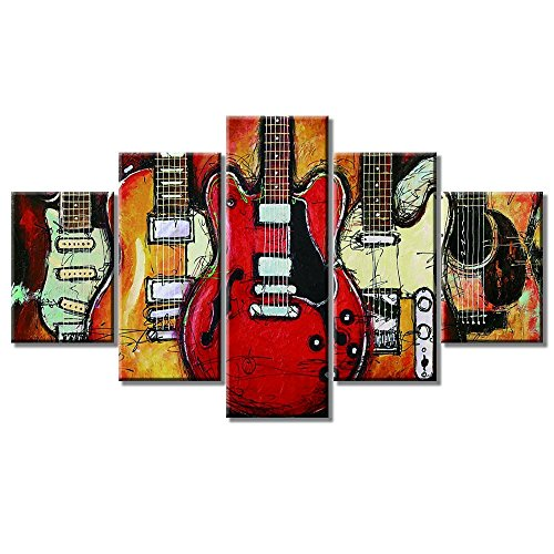 "Guitar Wall Art Abstract Guitar Artwork Music Canvas Guitar Posters Guitar Wall Decor for Living Room Bedroom Modern Music Pictures Gift for Music Lovers 5 Panels Large Posters Painting(60""Wx32""H)"