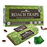 Greener Mindset 12 Pack Cockroach Traps with Bait Included - Premium Glue Trap - Eco-Friendly - Non-Toxic - Chemical Free - Spiders Ants Roach Killer