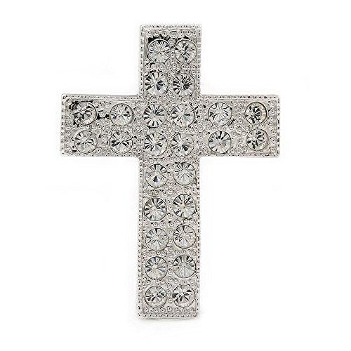 Avalaya Clear Crystal Cross Brooch in Rhodium Plated Metal - 45mm L