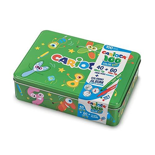 Carioca Color Box | Pennarelli Lavabili per Bambini Scatola Latta Verde, Set Pennarelli Punta Fine e Punta Grossa con Album da Colorare, 100 Pennarelli