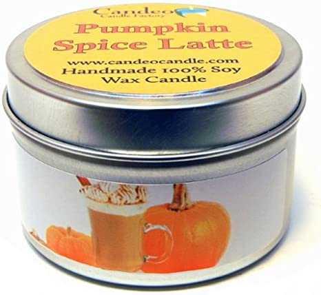 Handmade Candle Pumpkin Spiced Latte Christmas Scent Candle Vegan Friendly Candle Hand poured Soy Wax Paraben Free Rose Gold Tin