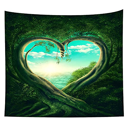 Sunshine Forest Tapestry Wall Hanging, Nature Forest Backdrop Psychedelic...
