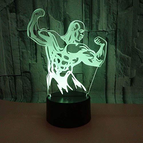3D Slide Light Bodybuilding Figur LED Nachtlicht Schreibtisch Schreibtisch Bettlampe 7 Farbe Touch Switch USB-Kabel Nachtlicht Home Decoration Kind Geburtstagsgeschenk
