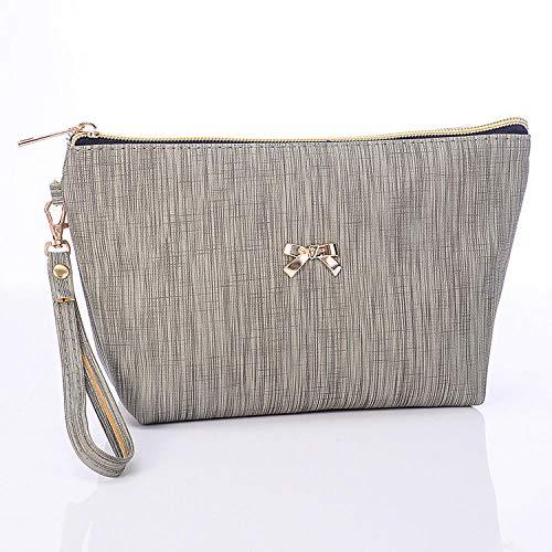 Check Bag Sac à Main Sac cosmétique PU Plaid Sac à Main Bow Lavage Sac de Rangement Finition Gris Clair