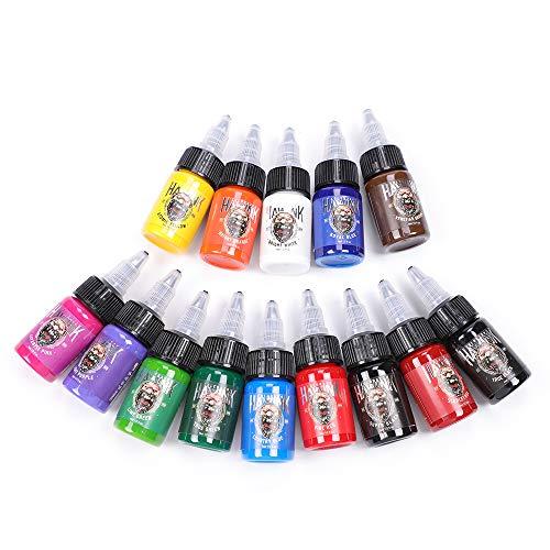 HAWINK Tattoo Ink Set 0.5 oz (15ml) Tattoo Supply 14 Colors Pigment Kit Ink USA TI203-15-14