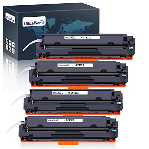 OfficeWorld Cartuccia Toner 201X 201A Sostituzione per HP 201X 201A CF400X CF401X CF402X CF403X Compatibile per HP Color LaserJet Pro MFP-M277DW M252DW MFP-M277N M252N MFP-M274N (4 Pezzi)