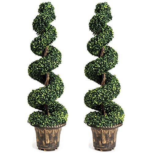 COSTWAY 2er Set Zimmerpflanze Deko, Kunstpflanze, Dekopflanze künstlich, Kunstbaum grün (Höhe 120cm)